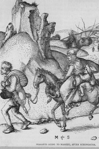 Contadini medievali si recano al mercato