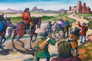 Gruppo di mercanti che si recano in un castello accompagnati da giullari. Europa, IX-XII secolo