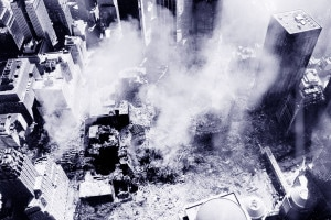 L'area delle Torri Gemelle dopo l'attacco