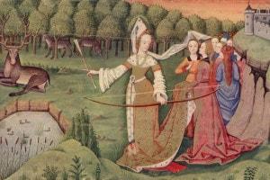 Un gruppo di donne nel parco di un castello. Una di loro si prepara a colpire un cervo, 1450 circa