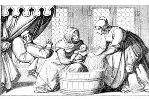Ostetrica che fa il bagno al bambino appena nato in epoca medievale