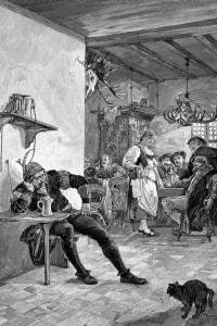 Donna medievale a lavoro in una taverna