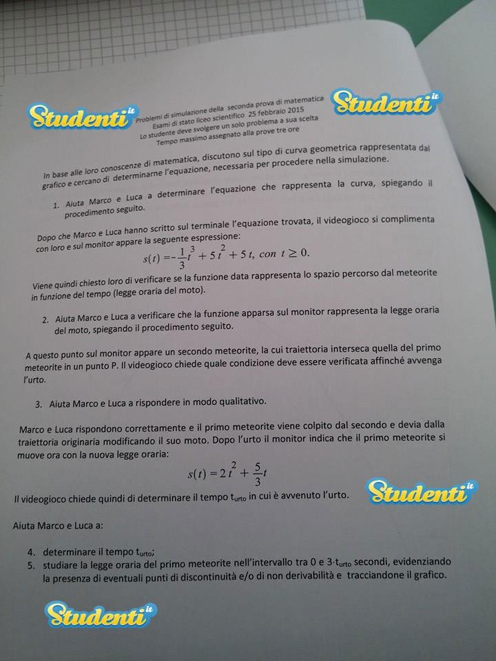 Seconda prova Maturità 2015 matematica, simulazione per lo ...